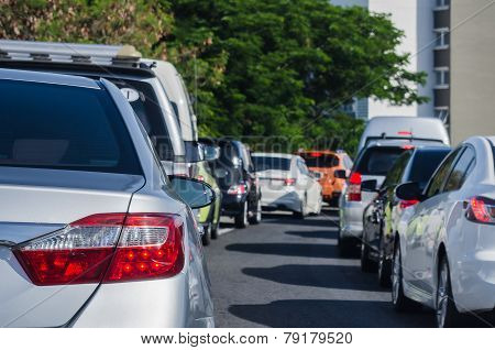 Traffic Jam With Many Cars In Morning