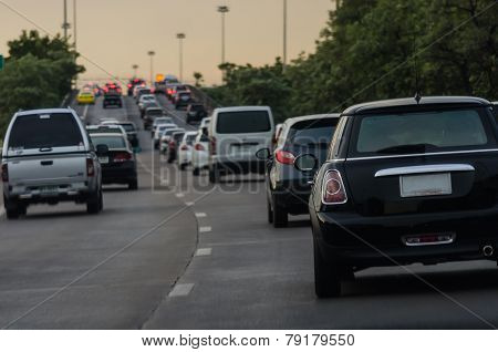 Traffic Jam With Many Cars In Rush Hour, Bangkok
