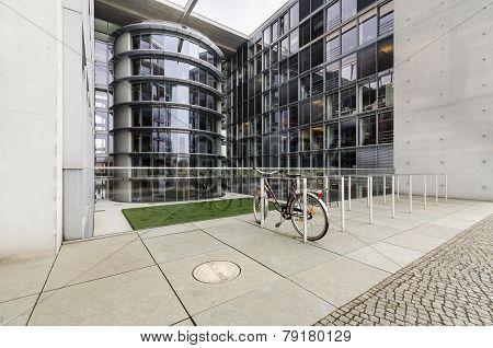 Paul Loebe Haus  Parliamentary Office Building In Berlin With Bike