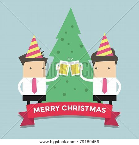 Merry Chirstmas businessmen toasting glasses of beer vector