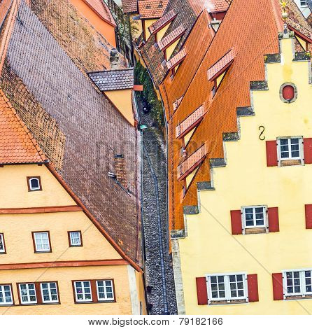 Detail Of The Houses At The Market Place Of  Rothenburg Ob Der Tauber