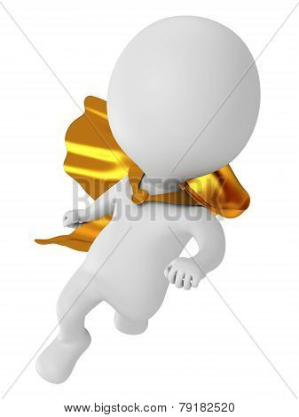 3D Brave Superhero With Gold Cloak Flying Above