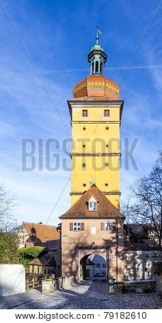 Segringer Gate In Famous Old Romantic Medieval Town Of Dinkelsbuehl In Bavaria