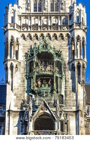 Chimes In Munich City Hall And Facade