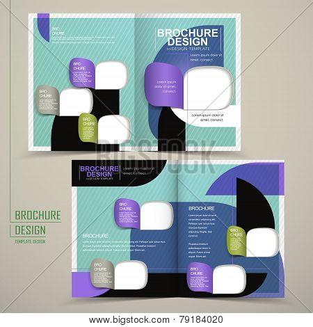 Modern Half-fold Brochure Template Design In Blue
