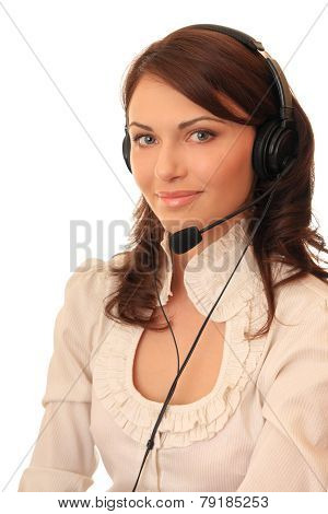 Beautiful girl in headsets with a microphone.
