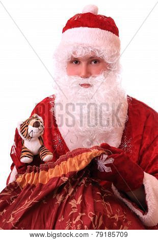 Santa Claus with a bag of gifts and New Year tiger.