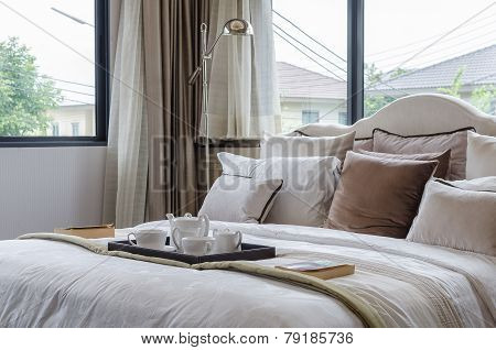 Luxury Bedroom With Tray Of White Tea Set