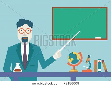 Flat Vector Teacher And Study Schools Objects For Study. Flat Design Style