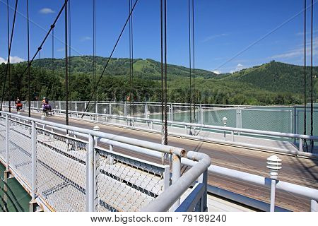 Suspended bridge through Katun.