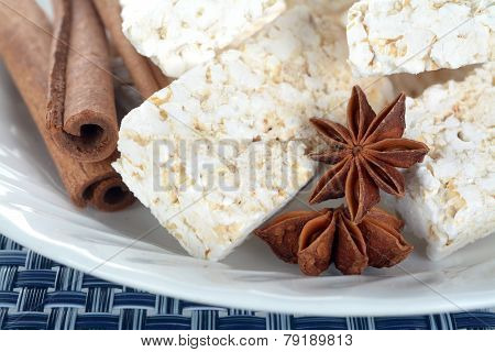 Puffed Rice Snack On Rustic Wooden Table