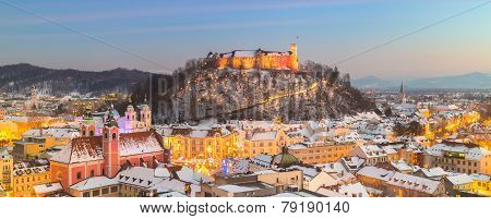 Panorama of Ljubljana in winter. Slovenia, Europe.