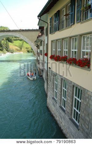 Buildings At Aare River In Bern, Switzerland