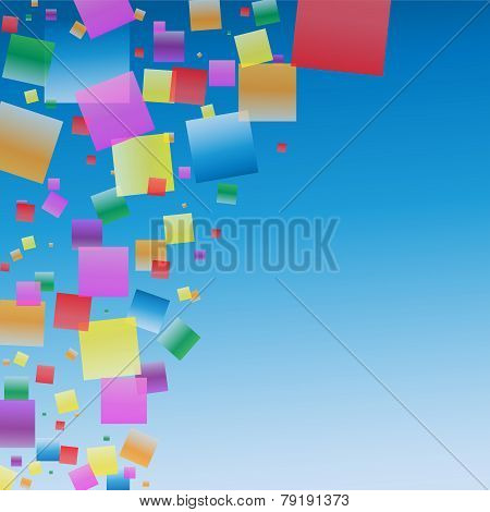 Colorful Floating Squares In The Blue Sky