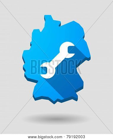 Germany Map Icon With A Wrench