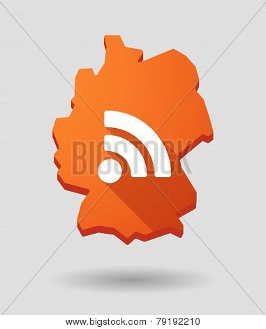 Germany Map Icon With A Rss Feed Sign