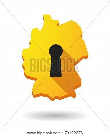 Germany Map Icon With A Key Hole