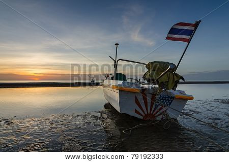 Fishing Boat On The Huahin Beach, Thailand With Sunrise