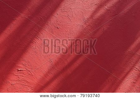 Shadow On Red Color Cement Wall