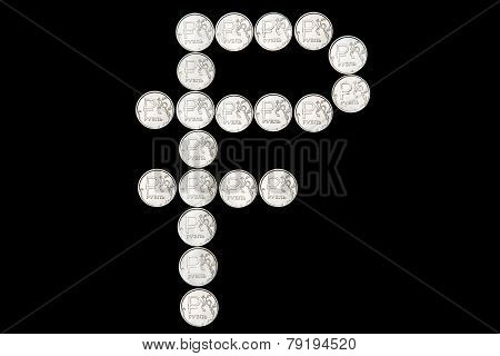 Russian Ruble Symbol Made Of Coins
