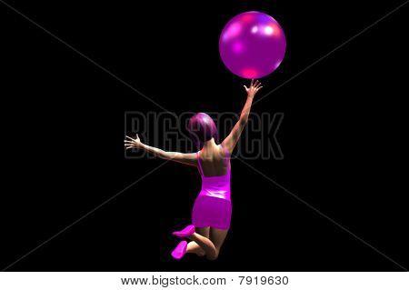 Girl touching ball