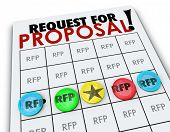 pic of propose  - RFP Request for Proposal words on a bingo card to illustrate competition in business to win new customers seeking quotes - JPG