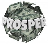 image of prosperity  - Prosper word in 3d letters on a ball or sphere of money - JPG