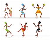 stock photo of bongo  - Vector figures dancing African dances or playing African musical instruments - JPG