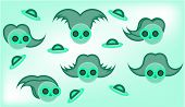 stock photo of centaur  - Picture of alien green face  on bright background - JPG
