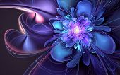 pic of fractals  - Abstract fractal with blue - JPG