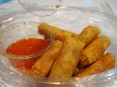stock photo of por  - Deep fried spring roll with Vermicelli or Por Pieer Tod  - JPG