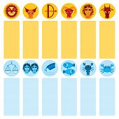 foto of cancer horoscope icon  - Funny blue and orange zodiac sign icon set astrological vector astrology - JPG
