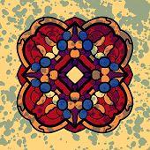 image of symmetrical  - Vintage vector four sided symmetrical mandala pattern with blots - JPG