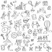 stock photo of feelings emotions  - Sketching and drawing of businessman character in various concept of business finance feeling emotion working vision and strategy money or with many office object - JPG