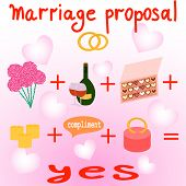 picture of marriage proposal  - Plan of marriage proposal with flowers wine candies ring candles compliment - JPG