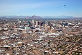 stock photo of northeast  - Aerial view of Downtown Phoenix Arizona Skyline looking to the northeast - JPG
