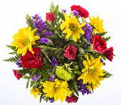 picture of carnation  - Bouquet of colorful spring flowers isolated on white featuring yellow  daisies red carnations and purple violets - JPG