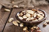 picture of brazil nut  - Portion of healthy Brazil Nuts as detailed close - JPG