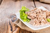 picture of cans  - Canned tuna with fresh parsley  - JPG