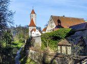 stock photo of bavaria  - Segringer gate in famous old romantic medieval town of Dinkelsbuehl in Bavaria Germany - JPG