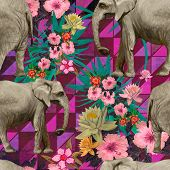 stock photo of indian elephant  - Pattern with indian elephants - JPG