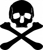 stock photo of diabetes mellitus  - a vintage dark pirate logo with a skull and bones - JPG