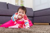 picture of hanbok  - Korean little girl crawl at home - JPG