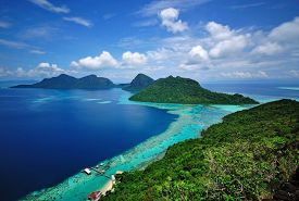 stock photo of marines  - Scenic view of an island in Sabah Borneo Malaysia - JPG