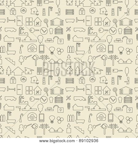 Real estate and construction items linear set seamless texture.
