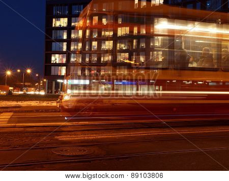 Tram and office.