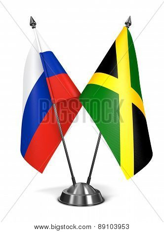Russia and Jamaica - Miniature Flags.