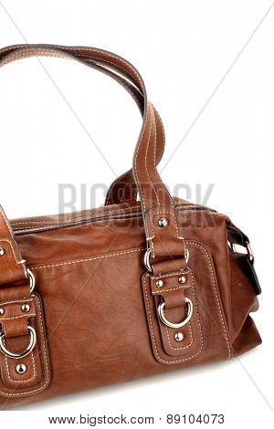 Brown woman bag on white background