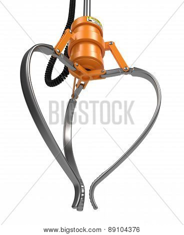 Closed Metal Robotic Claw in Orange Color.