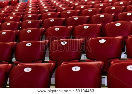 Empty Red Concert Chairs